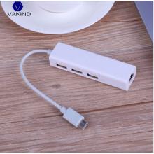 USB Type C - Ethernet RJ45 адаптер c 3 разъемами USB 3.0