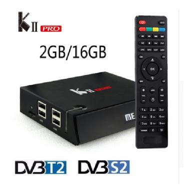 КII Pro - смарт приставка с S2 и T2 тюнером на Android 5.1 памятью 2 ГБ/16 ГБ, WI-FI 2.4 Г/5 ГГц,  Bluetooch 4.0 гигабитным LAN портом