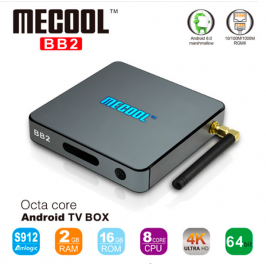 Mecool BB2 - Android TV Box Amlogic S912 64 бит Octa Ядро 4 К,  память 2/16 Гб,  2.4 Г/5 Г Wi-Fi Bluetooth 4.0