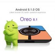 R-ТВ BOX S10 плюс - тв приставка на Android 8.1 с памятью 4/32 ГБ, с функцией беспроводной подзарядки для смартфона