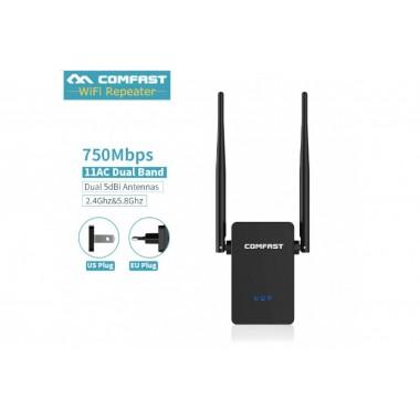 Репитер WI-FI повторитель Comfast, двухдиапазонный 2.4, 5.8 ГГц с максимальной пропускной способностью 750 Мбит/c